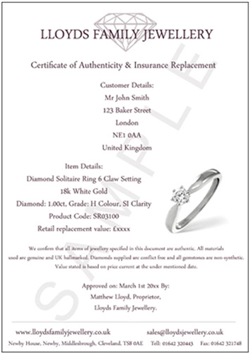 Lloyds Family Jewellery Jewellery Certificate